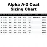 Alpha A-2 Coat Sizing Chart
