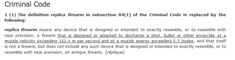 Current definition of a replica firearm in the Criminal Code